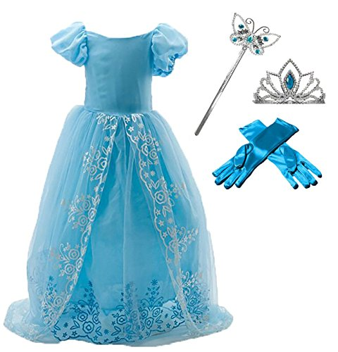Girl's Cinderella Party Costume Dress 4-piece Set