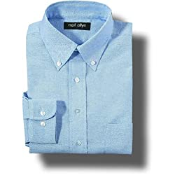 Neil Allyn Oxford Poly/Cotton Button Down Wrinkle Resistant Long Sleeve Dress Shirt for men