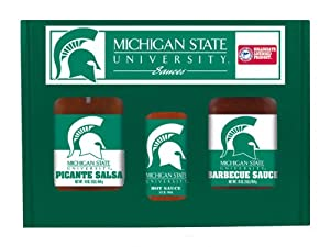 Michigan State Spartans Ncaa Tailgate Kit 5oz Hot Sauce 16oz Bbq Sauce 16oz Picante Salsa from Hot Sauce Harrys