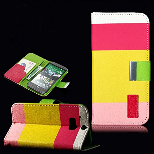 Mylife (Tm) Yellow And Lime Green {Four Stripe Design} Faux Leather (Card, Cash And Id Holder + Magnetic Closing) Slim Wallet For The All-New Htc One M8 Android Smartphone - Aka, 2Nd Gen Htc One (External Textured Synthetic Leather With Magnetic Clip + In
