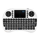 【K&W】Riitek mini Bluietooth keyboard タッチパッド搭載 RT-MWK08 ミニキーボード  Trackpad Google Media Control Bluetooth Keyboard ホワイト&ブラック(オリジナル日本語説明書付き)