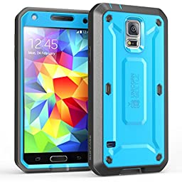 Galaxy S5 Case, SUPCASE [Heavy Duty] Samsung Galaxy S5 Case [Unicorn Beetle PRO Series] Full-body Rugged Case with Built-in Screen Protector (Blue/Black), Dual Layer Design + Impact Resistant Bumper