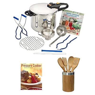 Fagor 9 Piece Stainless Steel Pressure Cooker Home Canning Set + Not Your Mother's Slow Cooker Recipes for Two + 5 Piece Utensil Bamboo Finish (Fork, Spoon, Spatula) from Fagor