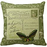 Cateyes Vintage French postcard collage - stamp butterfly Cotton Linen Throw Pillow Covers(18 x 18inches)