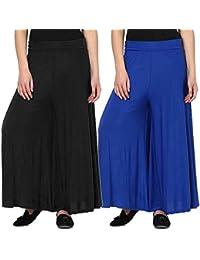 Women's BLACK-BLUE Palazzo Pant