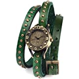 AMPM24 Vintage Bronze Lady Women Slim Wrap Green Leather Bracelet Quartz Wrist Watch WAA338