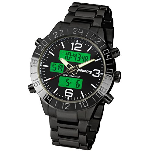 Night Vision Infantry Police Mens Army Sport Quartz Wrist Watch Black Stainless Steel Band #In-076-Blk-Bs