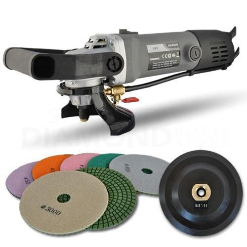 Hardin Variable Speed Polisher 5 Inch Concrete and Stone Wet Polishing Kit with Diamond Pads