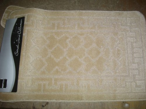 Beige Bath mat Set , Bathroom Mat and Pedestal Mat Rubber anti Slip Back