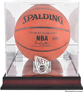 New Jersey Nets Mahogany Logo Basketball Display Case and Mirror Back by Mounted Memories
