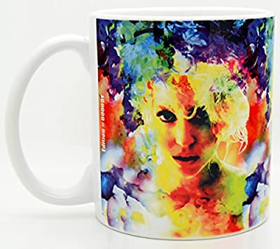MarkLewisArt Lady Gaga art S1 modern art coffee cup. Mug is signed by contemporary artist Mark Lewis descendant of baseball legend Cy Young