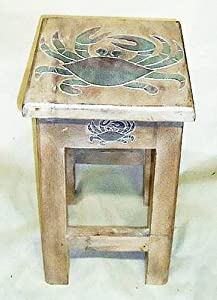 Coastal accent table crab side table for Nautical kitchen table