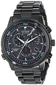 Citizen Watch Nighthawk A.T. Men's Quartz Watch with Grey Dial Analogue Display and Black Stainless Steel Plated Bracelet AT4117-56H