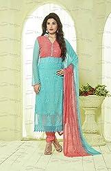 Matindra Enterprise Buy Latest Karachi Work Sky Blue Chiffone Dress materials