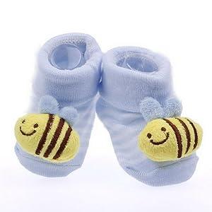 EOZY Diseño De Abeja Tejido Jacquard Antideslizante Botas Botines Calcetines Para Bebé Algodón Amarillo Azul marca EOZY - BebeHogar.com