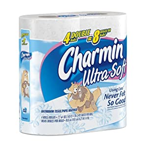 Charmin Ultra Soft, Double Rolls, 4 Count Packs (Pack of 10) 40 Total Rolls  [Amazon Frustration-Free Packaging]