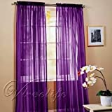 1kidandaheadache 2pc Purple Voile Fully Stiched Elegant Sheer Panels 60x84