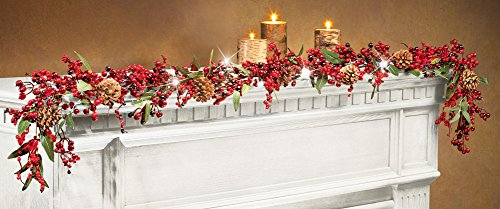 """60"""" Led Christmas Berries And Pinecones Garland"""