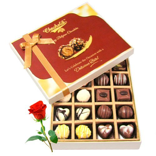 Valentine Chocholik's Belgium Chocolates - Beautiful Milk And White Collection Of Chocolates With Red Rose