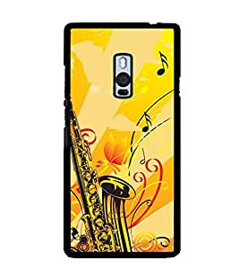 Printvisa Yellow Background Saxophone Back Case Cover for One Plus Two::One Plus 2::One+2