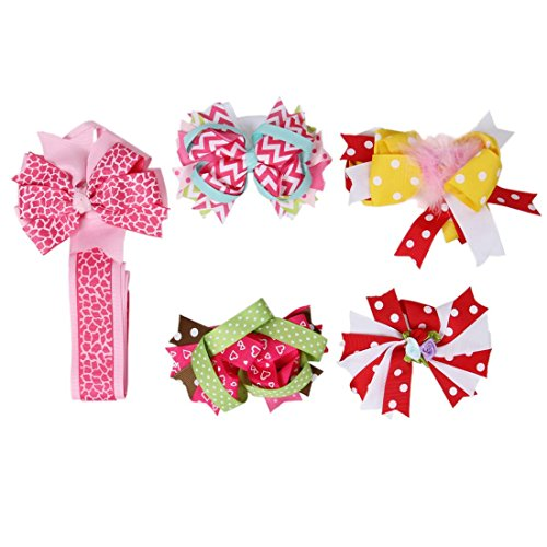 Bundle Monster 5 pc Baby Girls Mixed Variety Bow Ribbon Hair Clips with Accessory Holder - Set 2: Pink Animal Print Holder