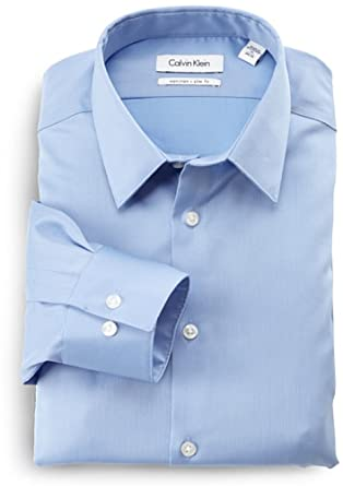 Calvin Klein Men's Non Iron Slim Fit Dress Shirt, Mist, 14.5 32-33