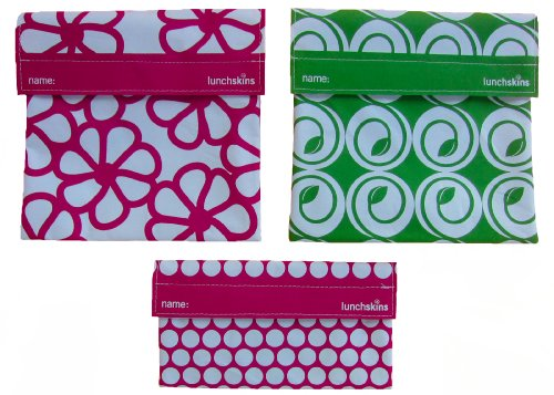 LunchSkins Reusable Sandwich and Snack Bags Set 3 Pack Berry Flower Green Bud Berry Dots