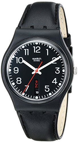 swatch-unisex-red-sunday-black-dial-and-leather-strap-watch