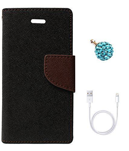 DMG Mercury Goospery Case Fancy Diary Flip Wallet Cover for Apple iPhone 5 (Black Brown) + 3.5mm Dust Jack + Data Cable