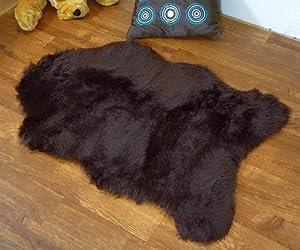 Chocolate brown faux fur sheepskin style single rug 70 x 100 cm