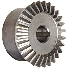 "Boston Gear HL150Y-G Bevel Gear, 2:1 Ratio, 0.500"" Bore, 14 Pitch, 28 Teeth, 20 Degree Pressure Angle, Straight Bevel, Keyway, Steel with Case-Hardened Teeth"