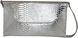 Patzino Fashion Collection, Faux Leather Croco Chic Women\'s Envelope Clutch (Silver II)