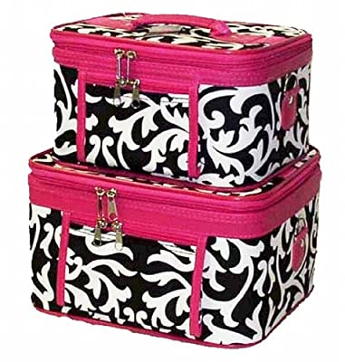Train Case Cosmetic Toiletry 2 Piece Luggage Set Damask Hot Pink Trim