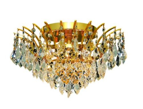 Elegant Lighting 8033F16G/Rc Victoria 10-Inch High 6-Light Flush Mount, Gold Finish With Crystal (Clear) Royal Cut Rc Crystal front-1013258