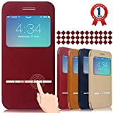 """iPhone 6 Case, Aerb Classic Series Smart Window View Touch Metal Front Flip Cover W Open Logo Back Folio Case for iPhone 6 4.7"""" (i6 B-Red Case)"""