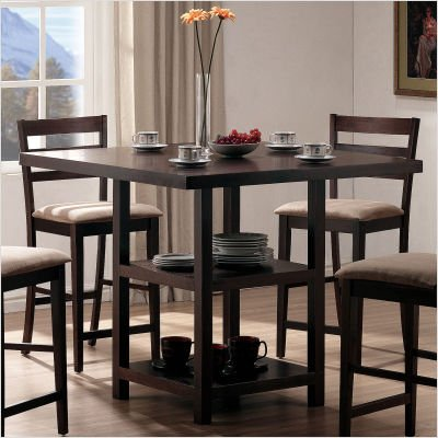Buy Low Price Home Line Furniture Newton Counter Height Storage Dinette Table Set in Espresso (D777T / D777C)