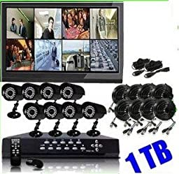 Q1C1 High End 8 CH Channel H.264 Security DVR With 8 x 480TV Lines high Resolution Night Vision IR Camera System Kit Pre-installed 1TB HDD(Monitor Not Included)