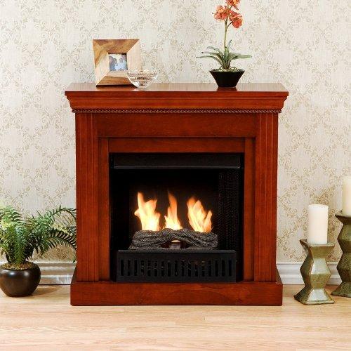 Walden Gel Fuel Fireplace Chiseled Columns Classic Mahogany Finish