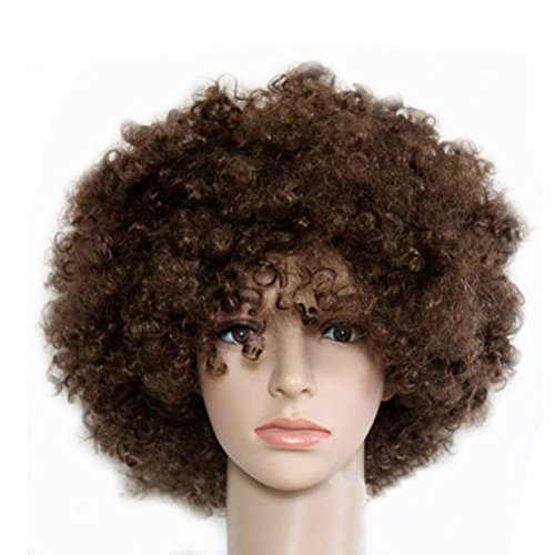 Party Cosplay Quirky Wig Periwig Wild-curl up Curly Clown Costumes, Brown