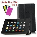【MOKO】Kindle Fire HD 6 インチ 2014年 専用保護ケース 超薄型 超軽量 マグネット開閉式 三つ折 高級PU レザーケース (ブラック)