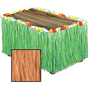 Artificial Grass Flowered Table Skirting (natural) Party Accessory  (1 count) (1/Pkg)
