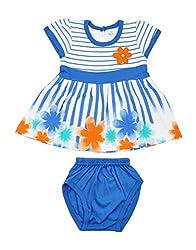 kandyfloss Baby Girls' Cotton Clothing Set (MRHKF-BLUE-FROCK-53--6-9 Months, Blue, 6-9 Months)