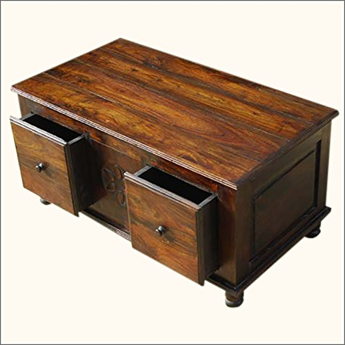 Rustic Wood Drawers Storage Sofa Cocktail Coffee Table