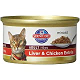 Hill's Science Diet Adult Optimal Care Liver and Chicken Entree Minced Cat Food, 3-Ounce Can, 24-Pack
