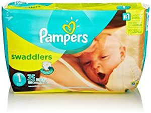 Pampers Swaddlers Diapers, Size 1, Jumbo Pack, 35 Count