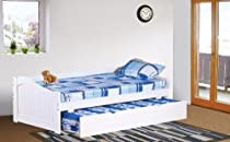 Hot Sale Kings Brand White Finish Wood Twin Size Day Bed (Daybed) With Trundle