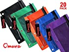 OMURA Zippered PENCIL POUCH BOLD COLOR w/ Mesh Windows & Standard 3-Ring Binder, Pack 20