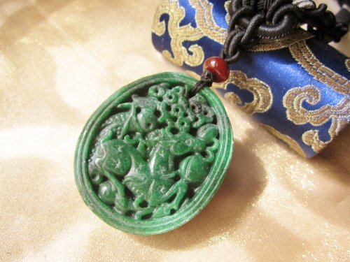 Auspicious Fortune Deer with Pine Tree Carved Dark Green Jade Amulet Pendant Necklace – Fortune Imperial Jade Collection