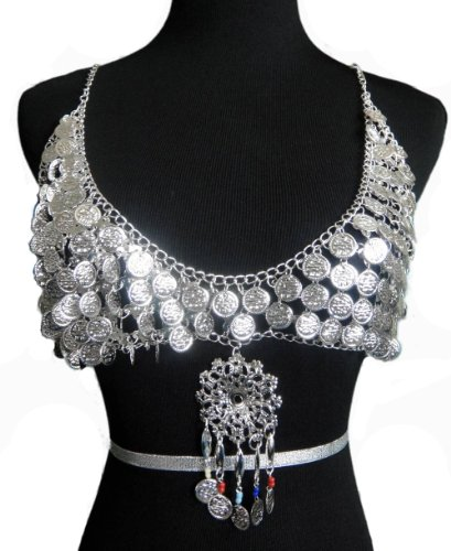 Egyptian Costume Bra Jewelry Metal Silver Tone Coins - Handcrafted - (EGYBRS-001)