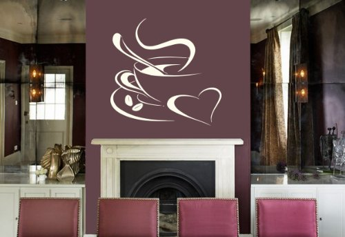 Housewares Vinyl Decal Coffee Cup With Hearts Home Wall Art Decor Removable Stylish Sticker Mural Unique Design For Room Bakery Cafe Kitchen